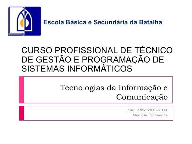Tecnologias da Informação e Comunicação Ano Letivo 2013-2014 Miguela Fernandes CURSO PROFISSIONAL DE TÉCNICO DE GESTÃO E P...