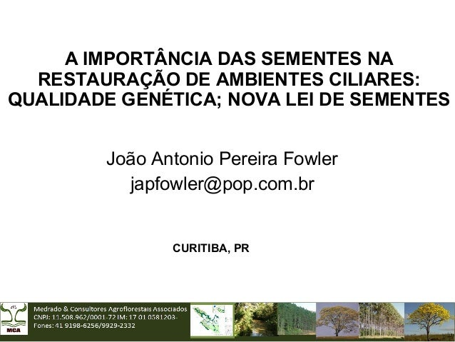 A IMPORTÂNCIA DAS SEMENTES NA RESTAURAÇÃO DE AMBIENTES CILIARES: QUALIDADE GENÉTICA; NOVA LEI DE SEMENTES João Antonio Per...