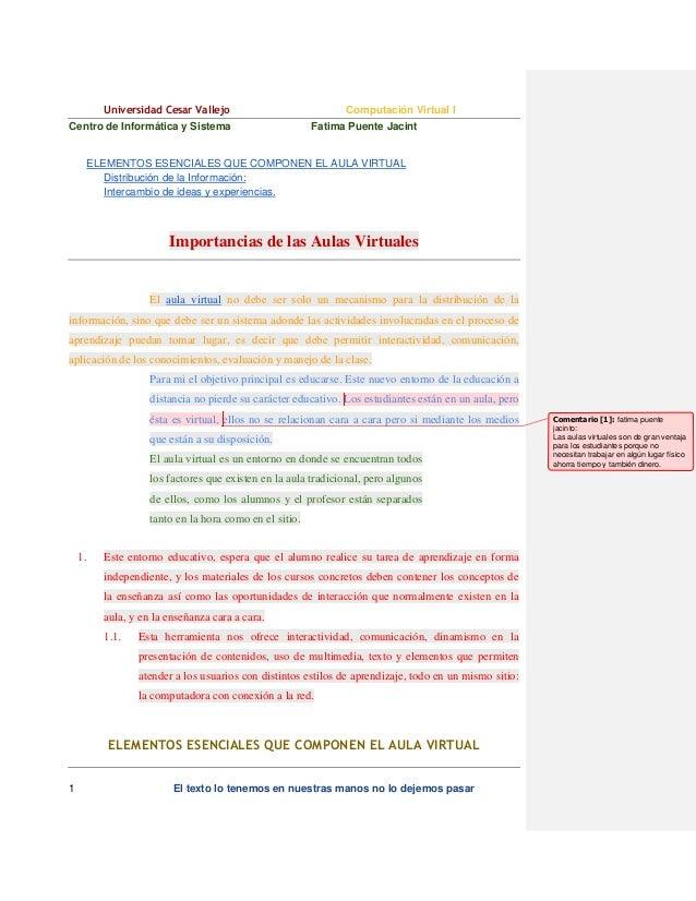 Universidad Cesar Vallejo Centro de Informática y Sistema  Computación Virtual I Fatima Puente Jacint  ELEMENTOS ESENCIALE...