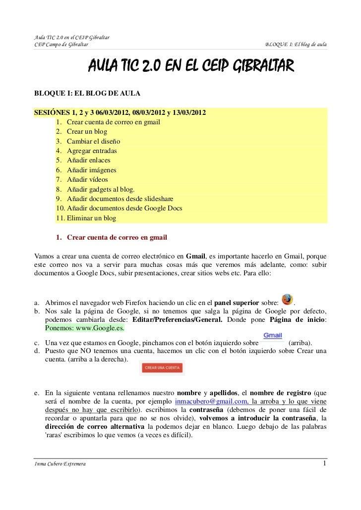 Aula TIC 2.0 en el CEIP GibraltarCEP Campo de Gibraltar                                                    BLOQUE I: El bl...