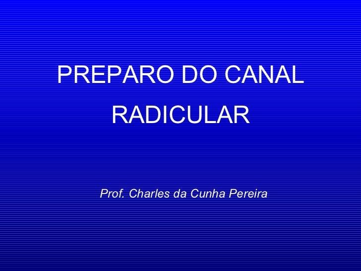 PREPARO DO CANAL RADICULAR Prof. Charles da Cunha Pereira