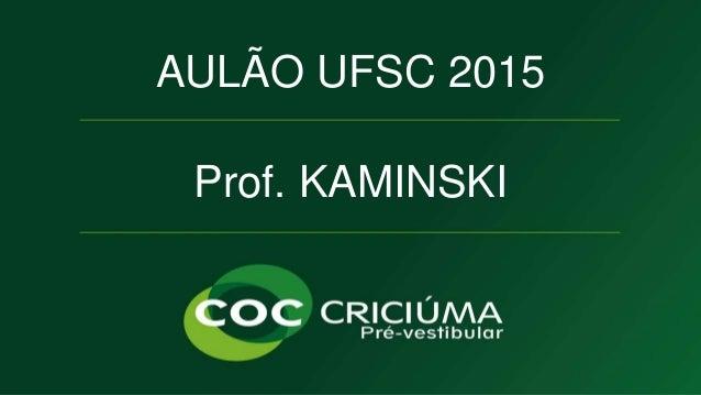 MODELOS ATÔMICOS  AULÃO UFSC 2015  Prof. KAMINSKI  QUÍMICA  Prof. KAMINSKI