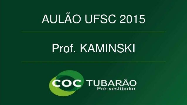 AULÃO UFSC 2015  Prof. KAMINSKI  QUÍMICA  Prof. KAMINSKI