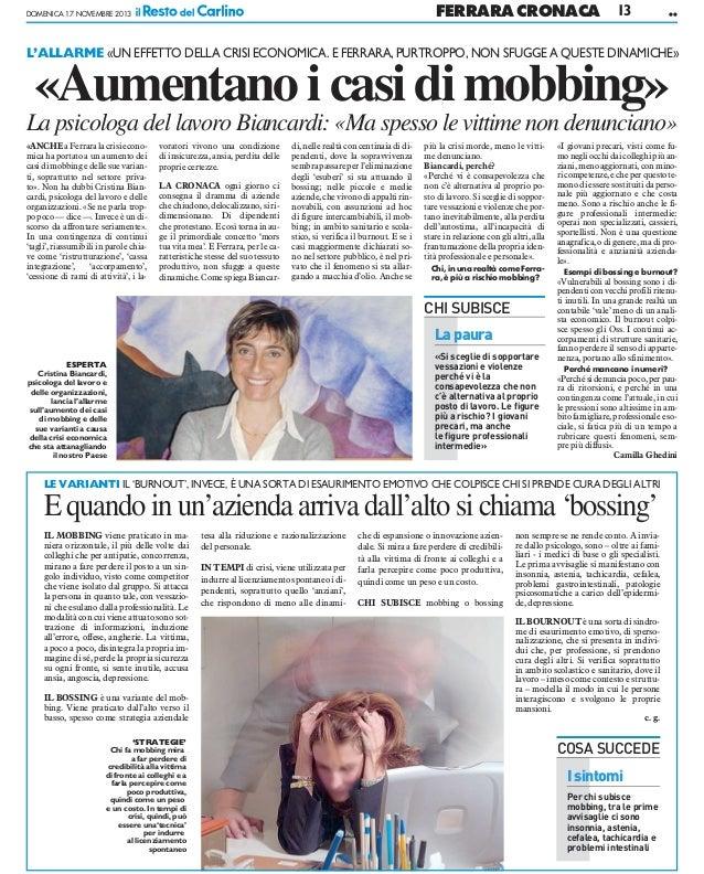 FERRARA CRONACA  DOMENICA 17 NOVEMBRE 2013  13  ••  L'ALLARME «UN EFFETTO DELLA CRISI ECONOMICA. E FERRARA, PURTROPPO, NON...