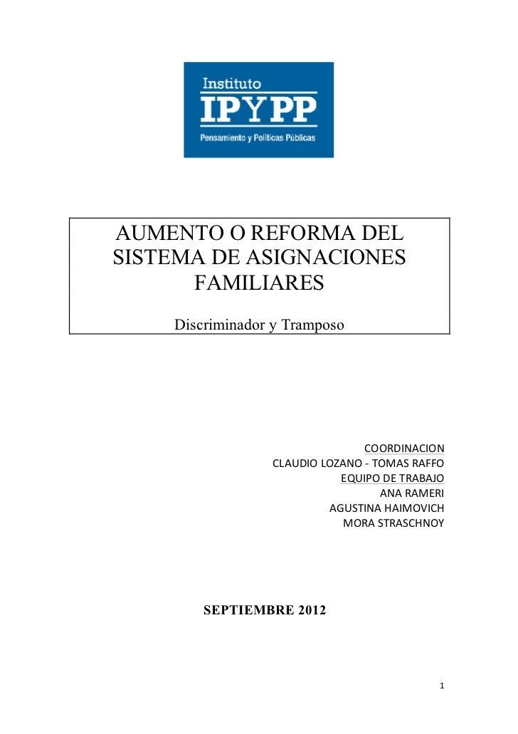 Aumento o reforma del sistema de asignaciones familiares (1)