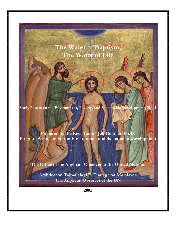 The Water of Baptism, The Water of Life - Anglican Church
