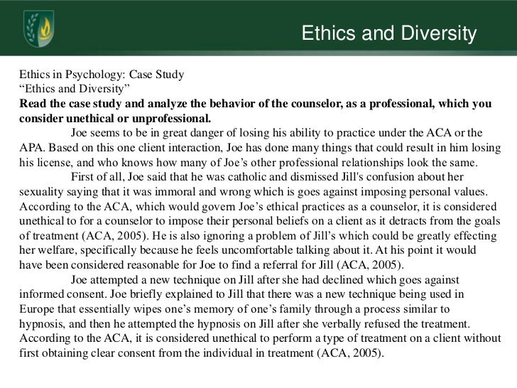 ethical practice in counselling essay Ethics in counselling essay 1601 words nov 11th, 2010 7 pages i intend to show an understanding of the ethical framework for good practice in counselling, relating it to practice and also my own beliefs and opinions, how this influences the counselling relationship, i will also show the need for protection of self and client.