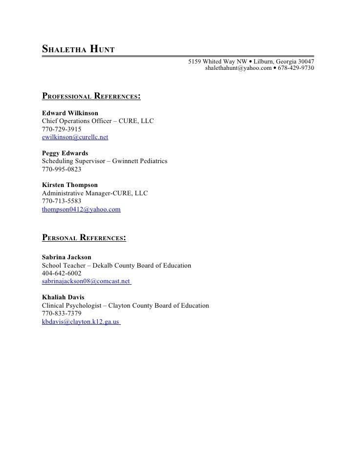 sample professional reference list – Sample Professional Reference List