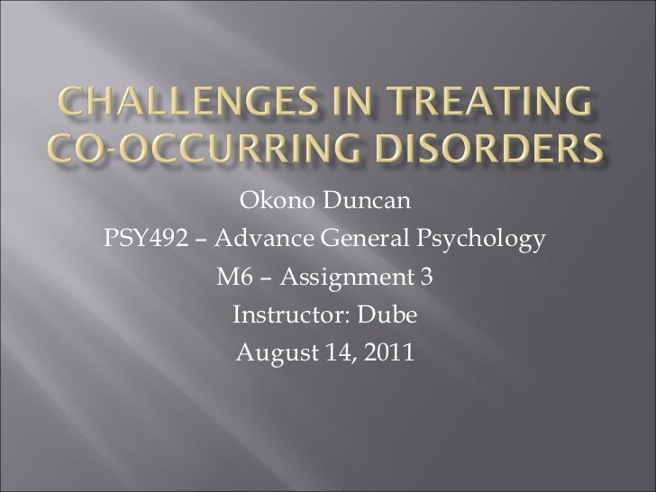 Okono Duncan PSY492 – Advance General Psychology M6 – Assignment 3 Instructor: Dube August 14, 2011