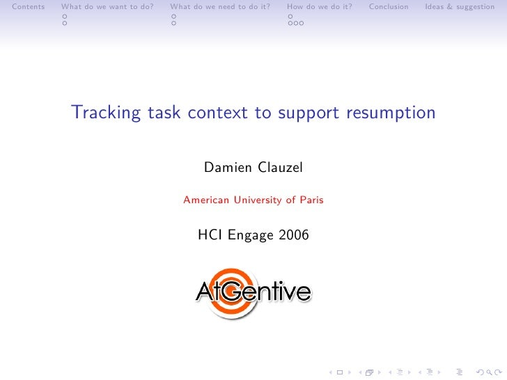 Tracking Task Context To Support Resumption