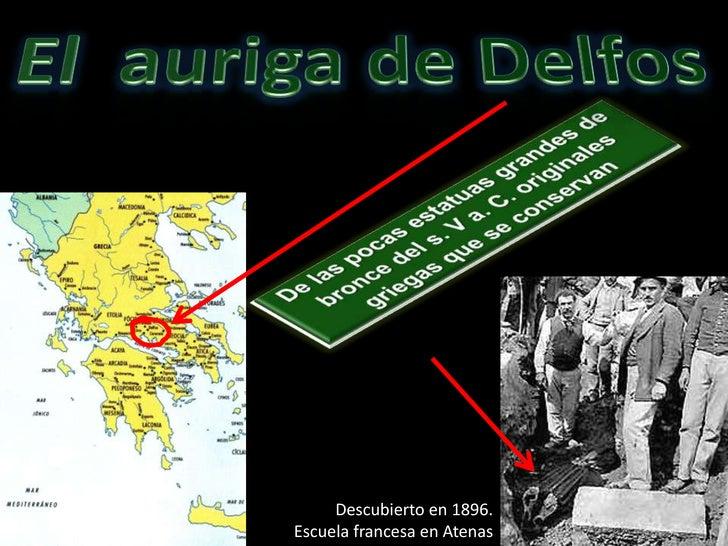 El  auriga de Delfos<br />De las pocas estatuas grandes de bronce del s. V a. C. originales griegas que se conservan<br />...