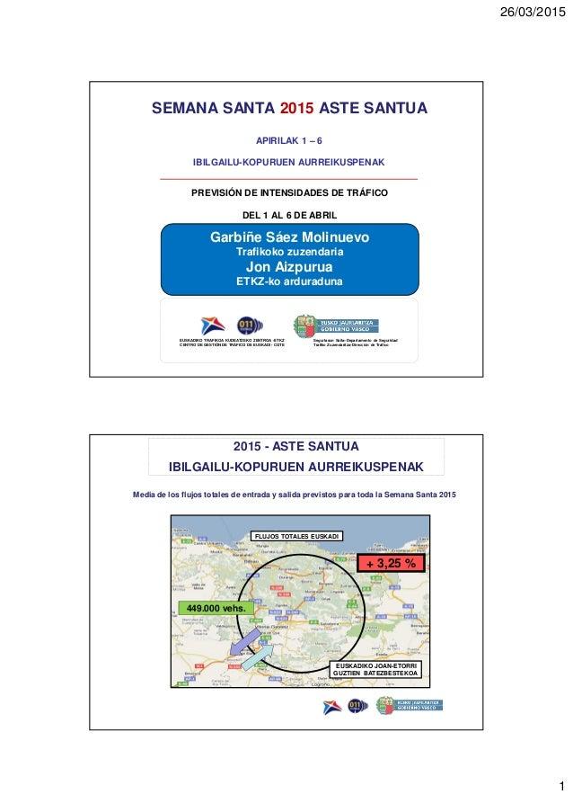 26/03/2015 1 SEMANA SANTA 2015 ASTE SANTUA PREVISIÓN DE INTENSIDADES DE TRÁFICO DEL 1 AL 6 DE ABRIL APIRILAK 1 – 6 IBILGAI...