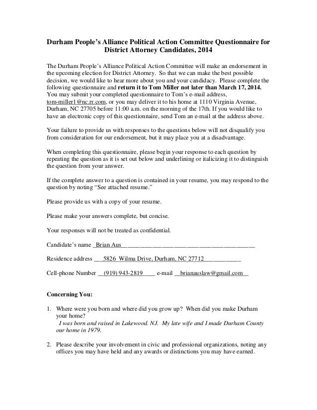 Durham People's Alliance Political Action Committee Questionnaire for District Attorney Candidates, 2014 The Durham People...