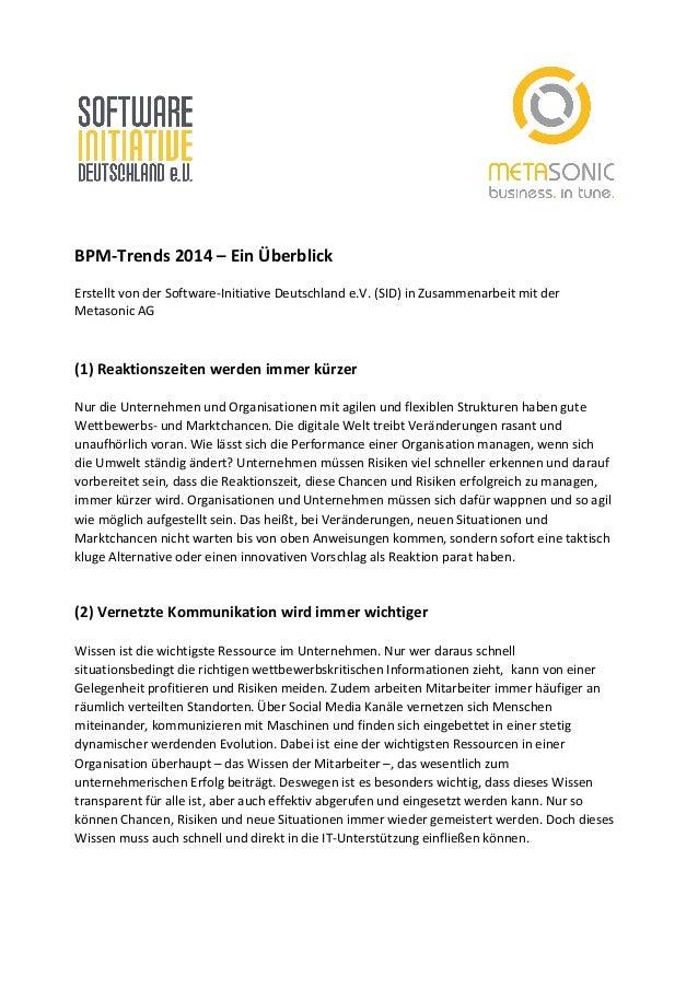 BPM-‐Trends  2014  –  Ein  Überblick      Erstellt  von  der  Software-‐Initiative  Deutschla...