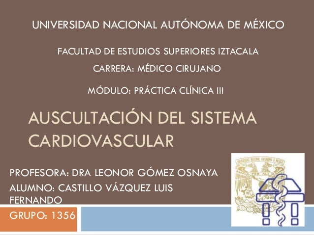 Auscultación del sistema cardiovascular i