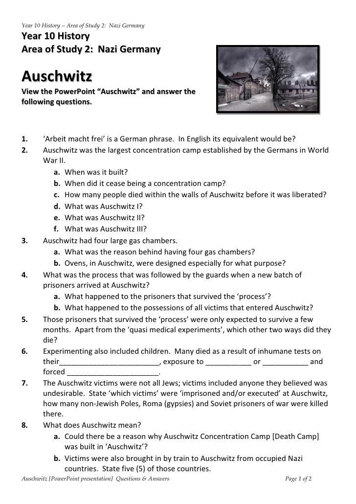 auschwitz powerpoint worksheet. Black Bedroom Furniture Sets. Home Design Ideas