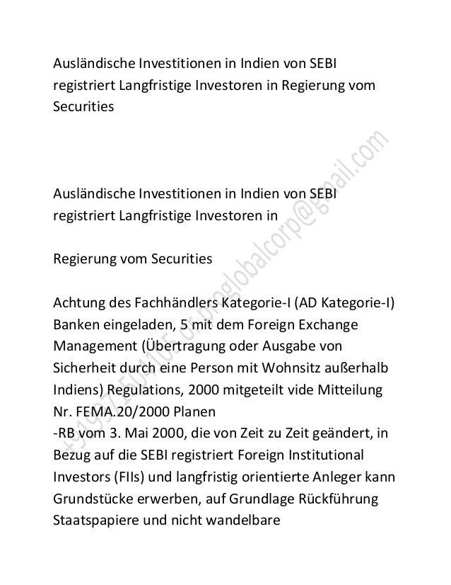 Ausländische Investitionen in Indien von SEBIregistriert Langfristige Investoren in Regierung vomSecuritiesAusländische In...
