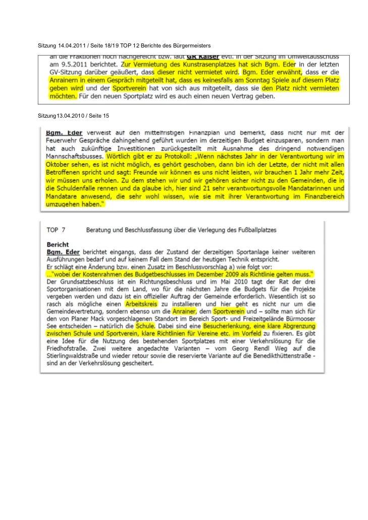 Sitzung 14.04.2011 / Seite 18/19 TOP 12 Berichte des BürgermeistersSitzung13.04.2010 / Seite 15