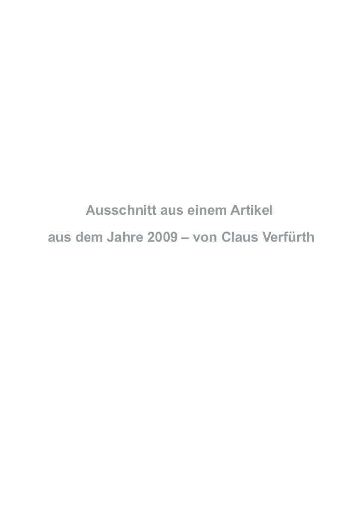 Ausschnitt aus einem Artikelaus dem Jahre 2009 – von Claus Verfürth