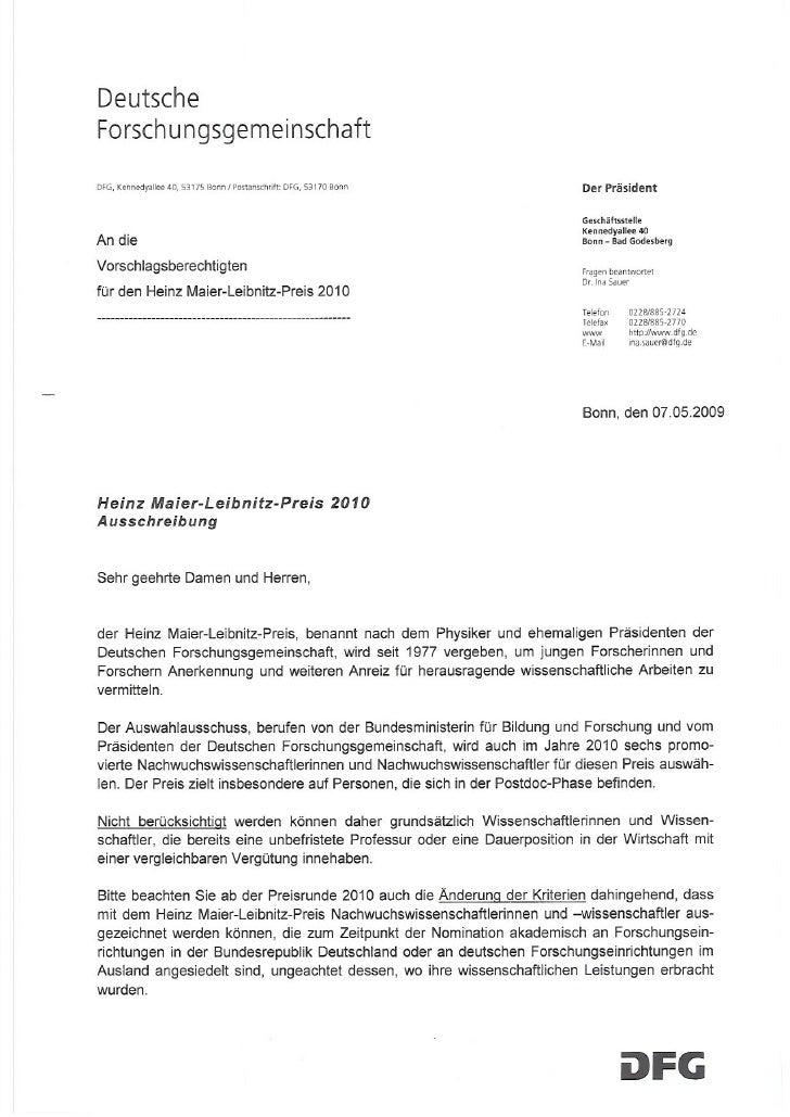 Ausschreibung Heinz Maier Leibnitz Preis 2010