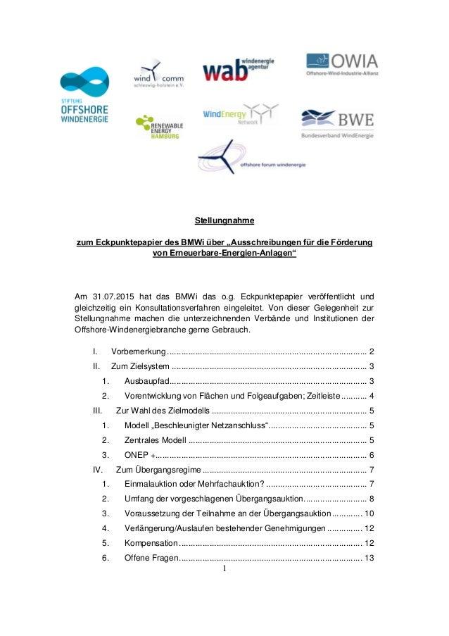 """1 Stellungnahme zum Eckpunktepapier des BMWi über """"Ausschreibungen für die Förderung von Erneuerbare-Energien-Anlagen"""" Am ..."""