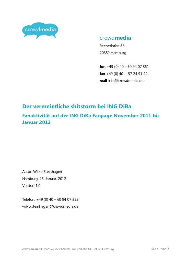 """Der ING DiBa """"shitstorm"""" auf Facebook Januar 2012"""