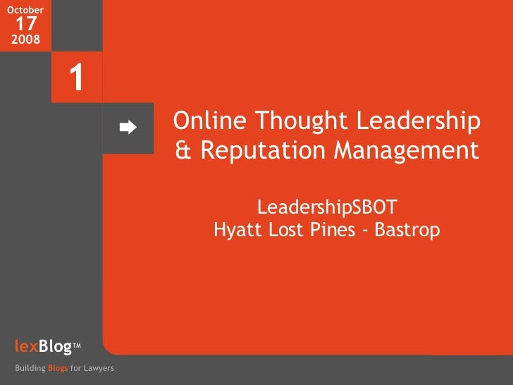 Online Thought Leadership for Lawyers - Blogs, Social Media, and Twitter