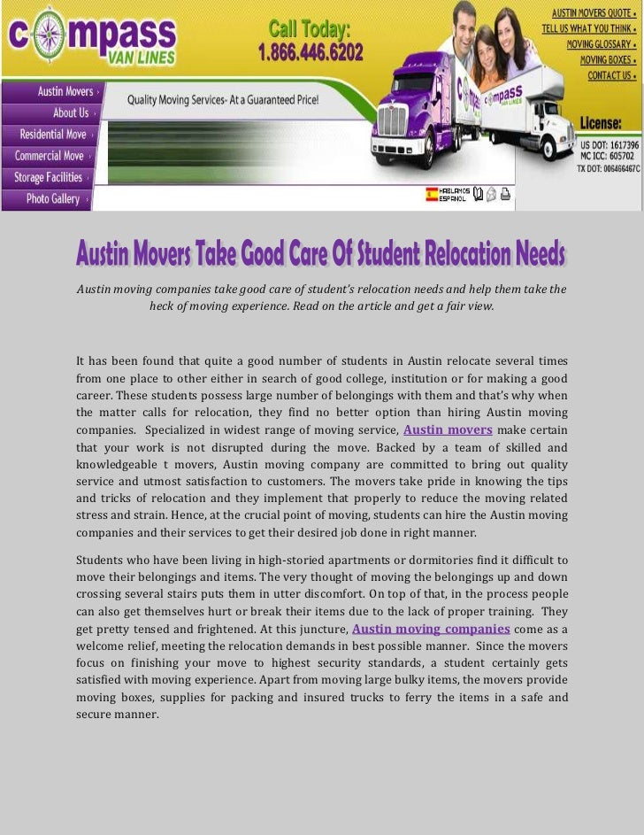 Austin moving companies take good care of student's relocation needs and help them take the             heck of moving exp...