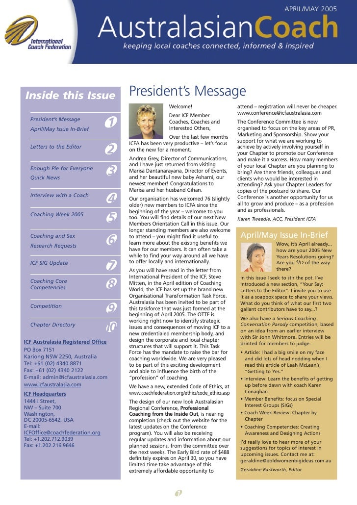 APRIL/MAY 2005     Inside this Issue                       President's Message                                            ...
