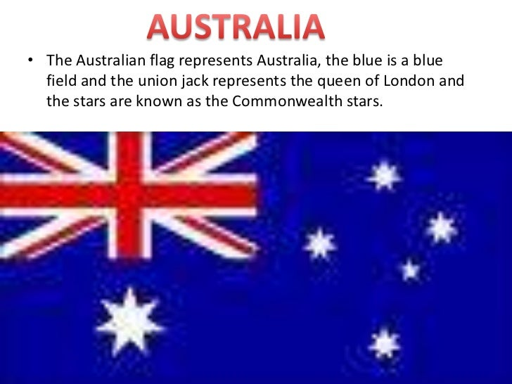 AUSTRALIA<br />The Australian flag represents Australia, the blue is a blue field and the union jack represents the queen ...