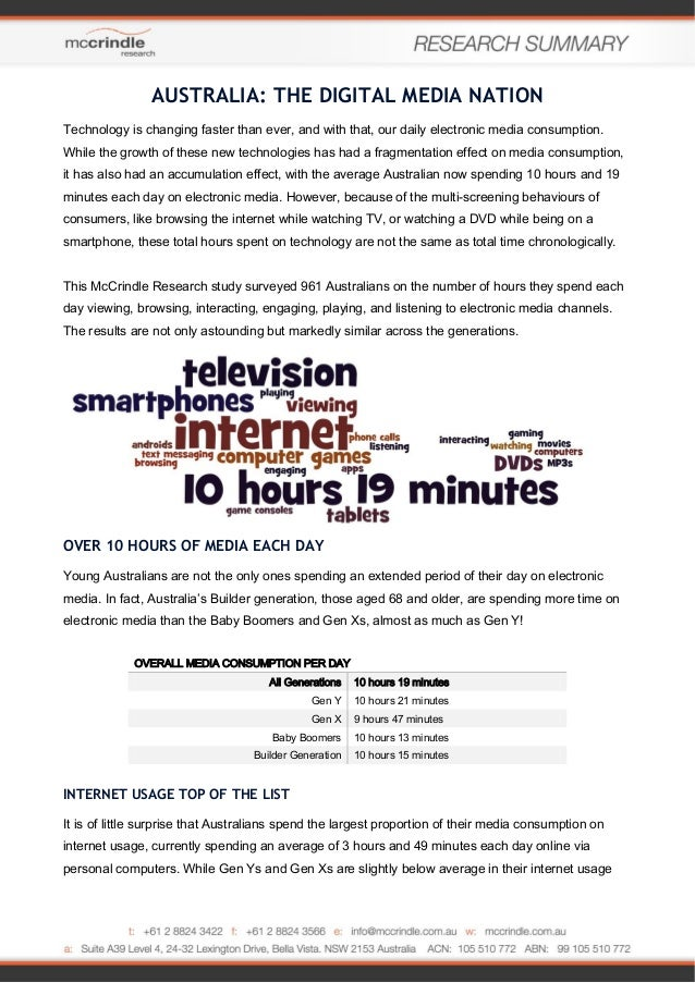 AUSTRALIA: THE DIGITAL MEDIA NATION Technology is changing faster than ever, and with that, our daily electronic media con...