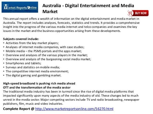 MarketReportsOnline: Australia - Digital Entertainment and Media Market