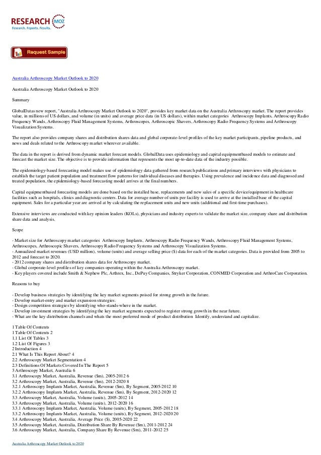 Australia Arthroscopy Market Outlook to 2020 Australia Arthroscopy Market Outlook to 2020 Summary GlobalDatas new report, ...