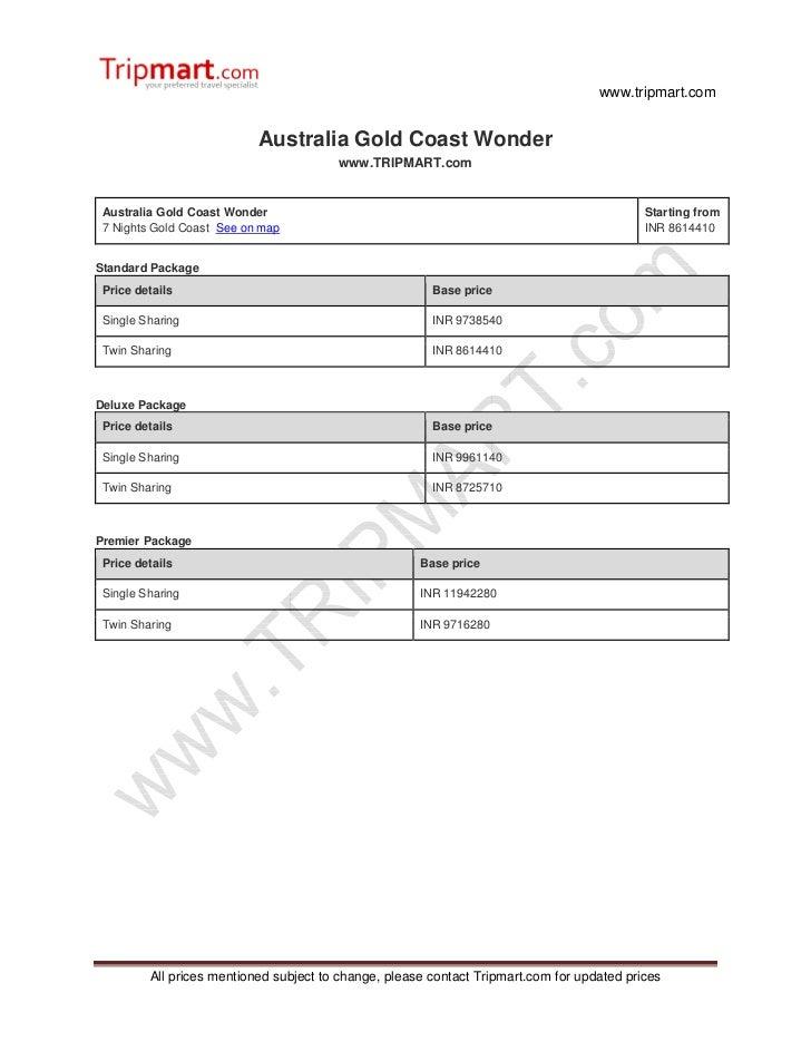 www.tripmart.com                           Australia Gold Coast Wonder                                        www.TRIPMART...