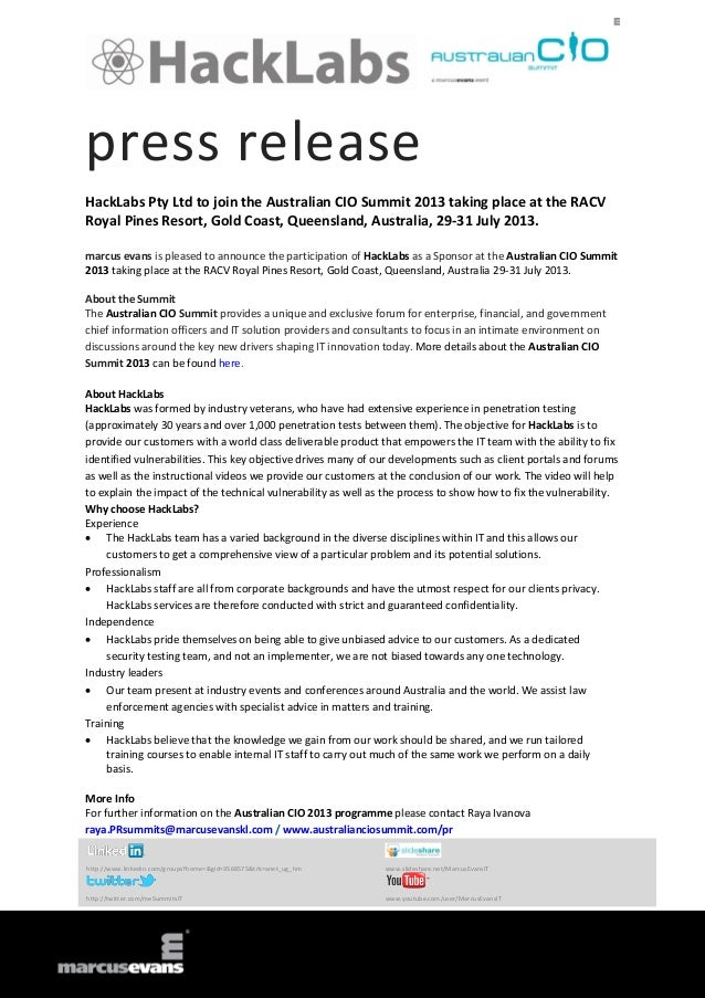 press release HackLabs Pty Ltd to join the Australian CIO Summit 2013 taking place at the RACV Royal Pines Resort, Gold Co...