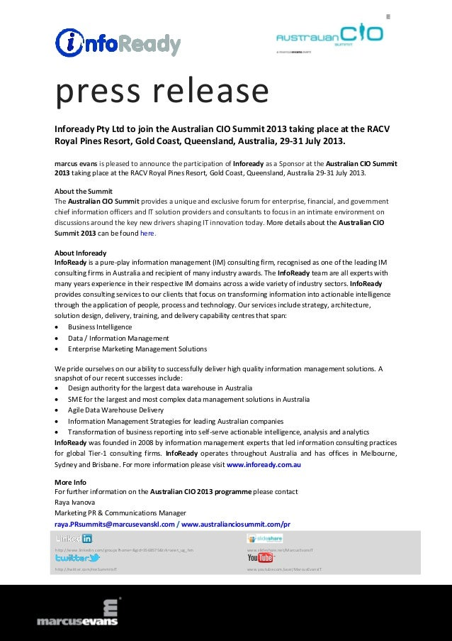 press release Infoready Pty Ltd to join the Australian CIO Summit 2013 taking place at the RACV Royal Pines Resort, Gold C...