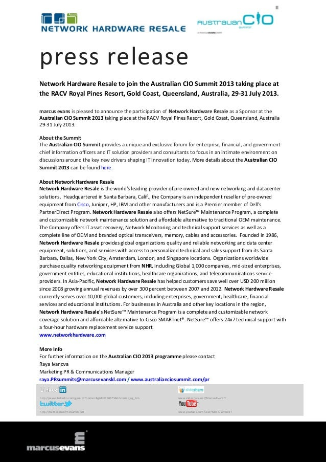 press release Network Hardware Resale to join the Australian CIO Summit 2013 taking place at the RACV Royal Pines Resort, ...