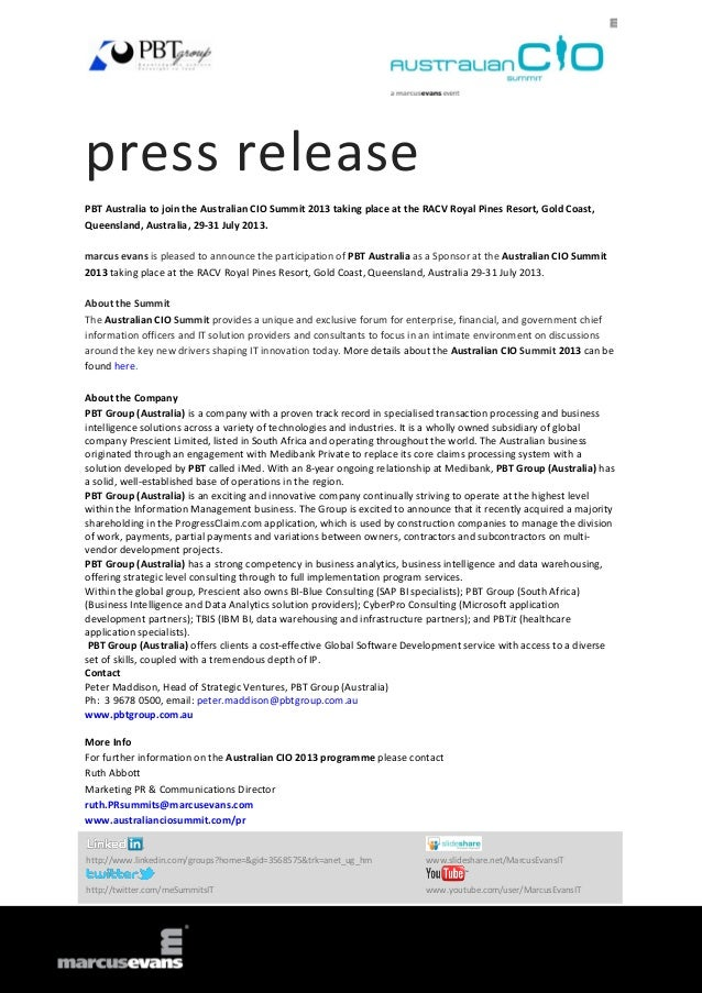 press releasePBT Australia to join the Australian CIO Summit 2013 taking place at the RACV Royal Pines Resort, Gold Coast,...