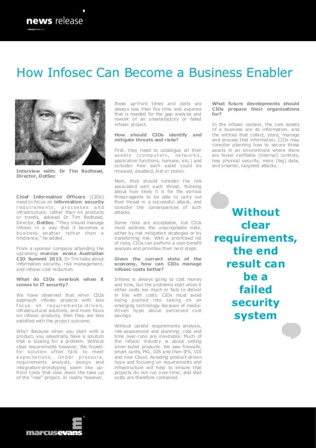 How Infosec Can Become a Business Enabler: Interview with: Dr Tim Redhead, Director, DotSec