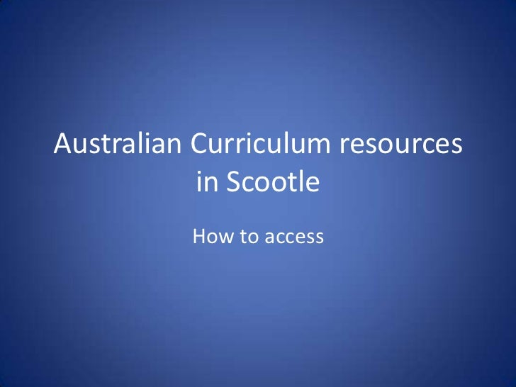 Australian curriculum resources in scootle