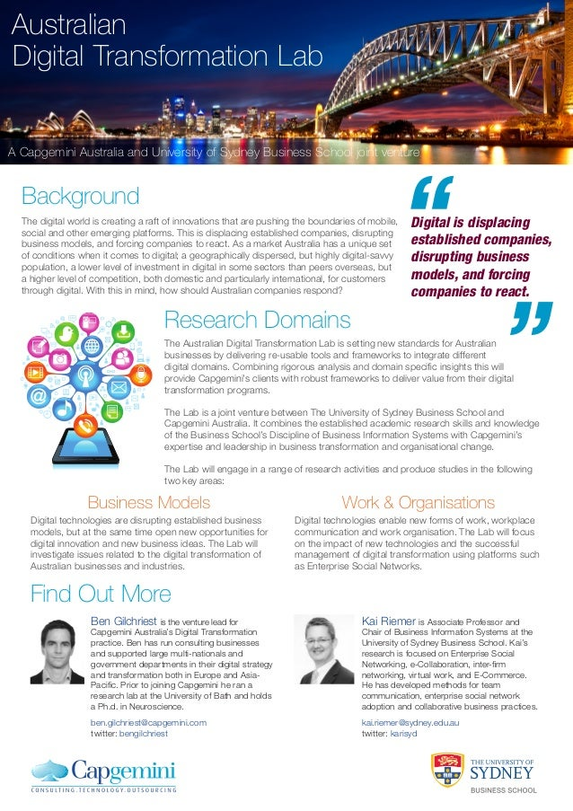 Australian Digital Transformation Lab  A Capgemini Australia and University of Sydney Business School joint venture  Backg...