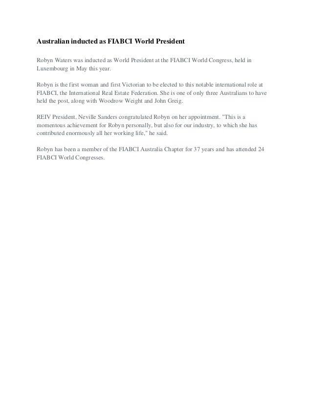 Australian inducted as FIABCI World President Robyn Waters was inducted as World President at the FIABCI World Congress, h...