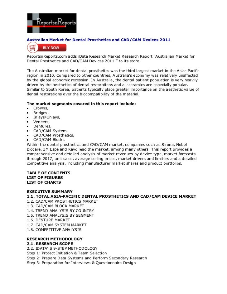 ReportsnReports – Australian Market for Dental Prosthetics and CAD/CAM Devices 2011