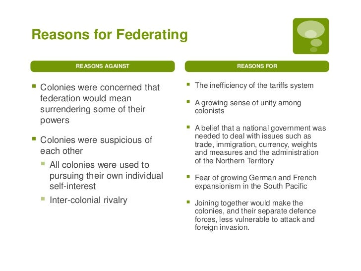 reasons for australian federation essay Arguments for federation by: i agree with all arguments specially with grace australia should be one nation and it will be very good for all colonies and better.