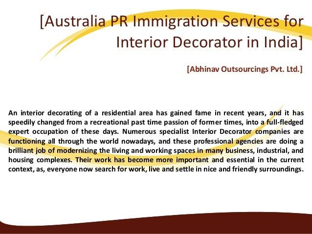 Australia pr immigration servicesfor interior decorator in india
