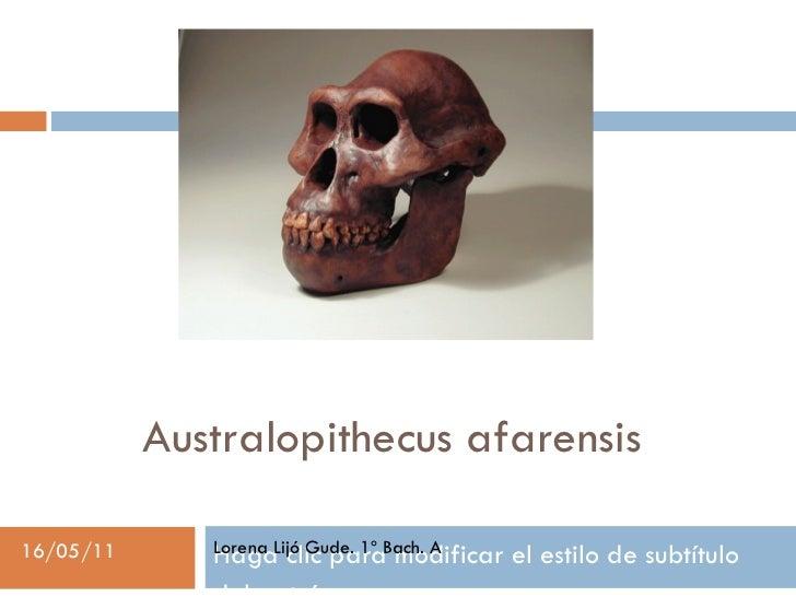 Australopithecus afarensis Lorena Lijó Gude. 1º Bach. A