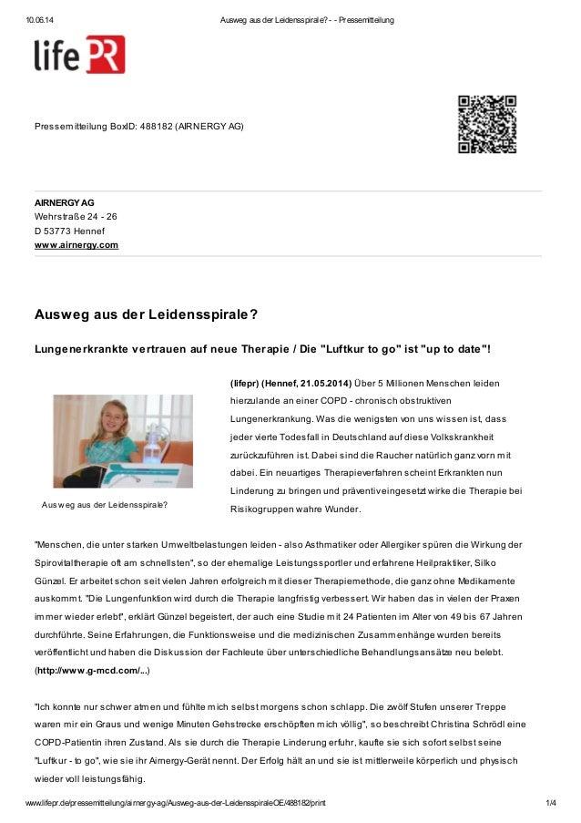 10.06.14 Ausweg aus der Leidensspirale? - - Pressemitteilung www.lifepr.de/pressemitteilung/airnergy-ag/Ausweg-aus-der-Lei...