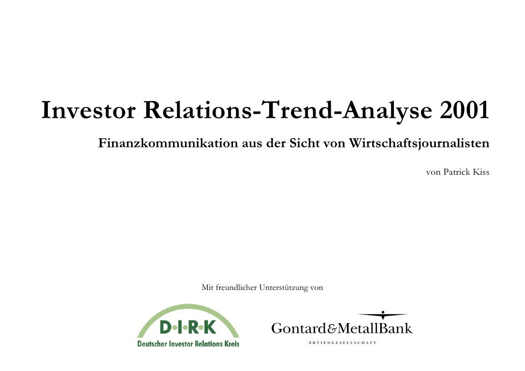 Investor Relations-Trend-Analyse 2001