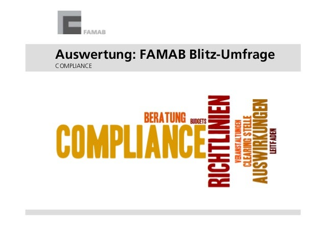Auswertung: FAMAB Blitz-Umfrage COMPLIANCE
