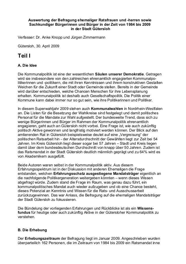 Auswertung der Befragung ehemaliger Ratsfrauen und -herren sowie Sachkundiger Bürgerinnen und Bürger in der Zeit von 1984 ...